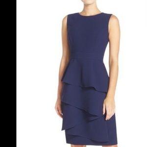 NWT Eliza J navy blue crepe sheath ruffle dress